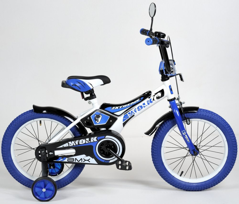 "Детский велосипед Varma 18"" Wolk, передний тормоз, синие покрышки"